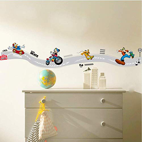 WUDHF Cartoon Mickey Goofy Donald Duck Skateboard Sport Wandaufkleber Für Kinderzimmer Wandkunst Dekor Poster DIY Removable Decals20 * 108 cm