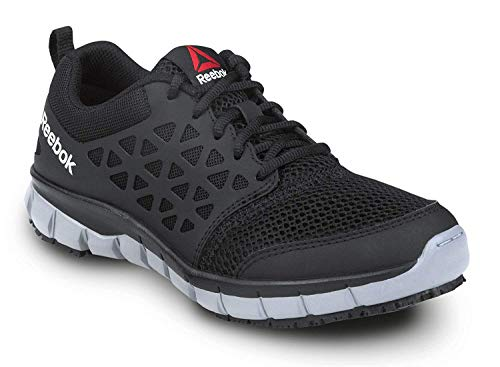 Reebok Sublite Cushion Work, Black/Gray, Women's, Athletic Style Slip Resistant Soft Toe Work Shoe (9.0 M)
