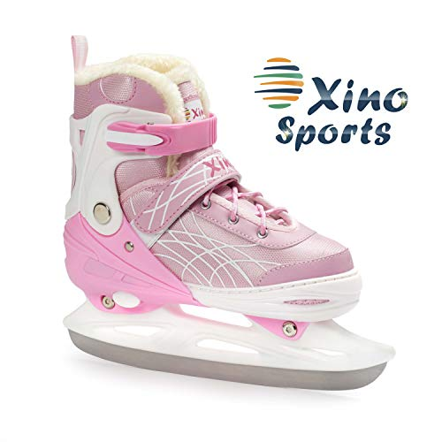 Deluxe Adjustable Ice Skates - for Boys and Girls, Two Awesome Colors - Blue and Pink, Faux Fur Padding and Reinforced Ankle Support, Fun to Skate! Pink Size Small