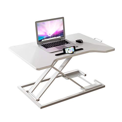Standing desk converter Sit-Stand Desk, Height Adjustable Super Sturdy Office Workstation  80x55cm Platform  Raises From 6-41cm  Riser for PC Computer Screen, Keyboard, Laptop ( Color : White )