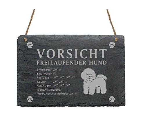 Schiefertafel « BICHON FRISÉ - VORSICHT FREILAUFENDER HUND » Größe ca. 22 x 16 cm - Schild mit Hunde Motiv - Türschild Garten Terrasse Eingang Tür Tor