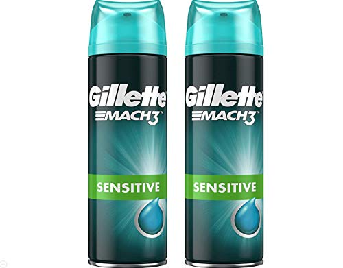 Gillette Mach3 Sensitive, Gel à Raser Homme, Formule Peaux sensibles, 200ml (Pack de 2)