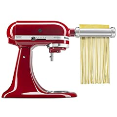 Designed, engineered, and tested by KitchenAid Powered by your KitchenAid Stand Mixer. Fits all Household KitchenAid Stand Mixers. Convenient front pocket Pasta Roller rolls 6-inch sheets of pasta with 8 thickness settings. Spaghetti Cutter cuts past...