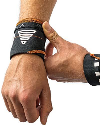 Premium Wrist Wraps - Handgelenk-Bandagen mit Silikon Print für bessere Stabilität & Performance der Bandagen - Perfekt geeignet für Calisthenics, Kraftsport, Crossfit, Fitness - für Männer & Frauen