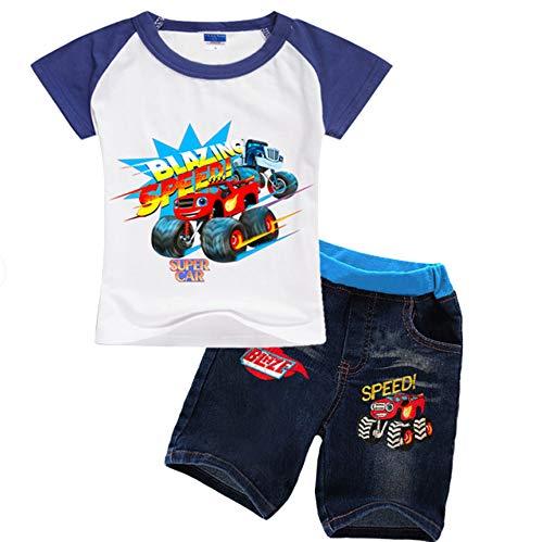 GSHDUFN Blaze and The Monster Machines T-Shirt Traje Top y Pantalones Niños y Fresco Traje Casual cómoda de la Manera Traje de Ocio Tendencia del Estilo Salvaje de Las niñas niños y niñas