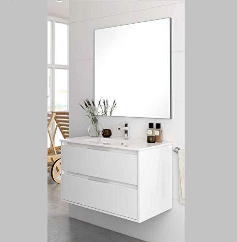 Aquore Mueble de Baño con Lavabo y Espejo   Mueble Baño Modelo Balton 2 Cajones Suspendido   Muebles de Baño   Diferentes Acabados Color   Varias Medidas (Blanco, 60 cm)