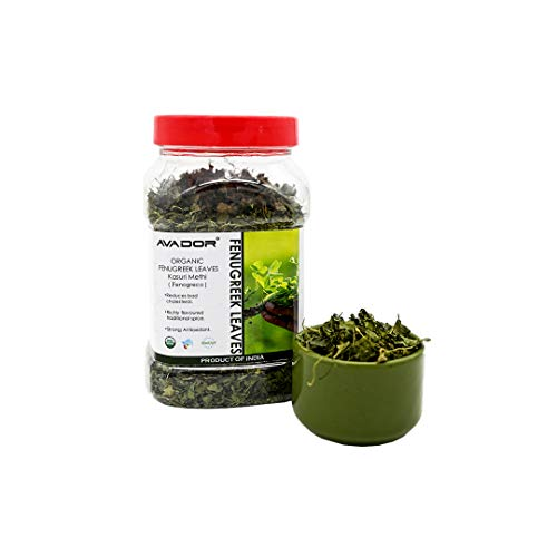 AVADOR USDA Certified Organic All Natural Fenugreek Leaves 100 Grams Kasoori Methi   Indian Herb   Non GMO