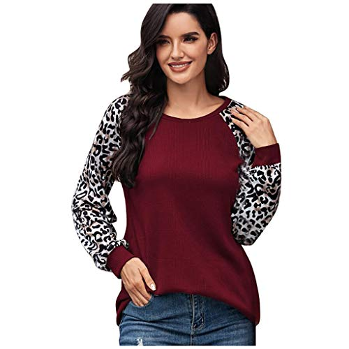 Gofodn Ladies Tops for Women Pullover Sweatshirt Long Sleeves Casual Plus Size Classic O-Neck Leopard Print Patchwork Shirts Blouse Wine