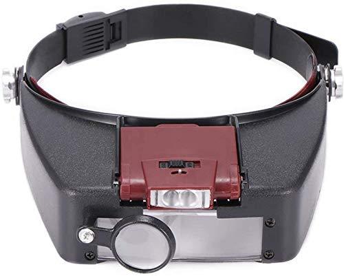 JJDSN Lupa portátil, Herramienta de Hobby Lupas 10X Diadema Lupa Gafas Estilo de Casco Lente de Lupa Luces LED Lupa Microscopio para Reparar Relojes Lectura de Joyas