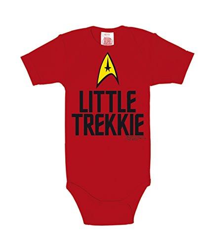 Logoshirt - Star Trek Pelele bebé niño - USS Enterprise Logotipo - Little Trekkie Body para bebé - Rojo - Diseño Original con Licencia, Talla 62/68, 3-6 Meses