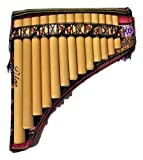 Pan Flaute Inca Motif 13 Pipes -Natural Bamboo From Peru Case Included