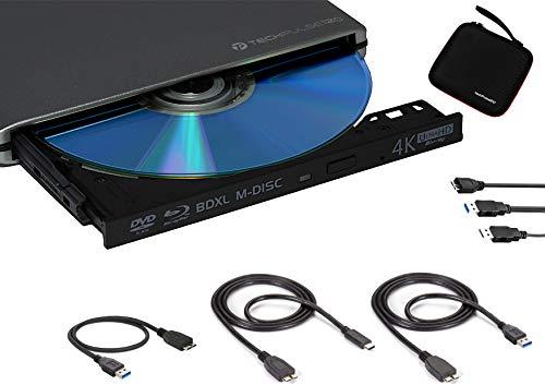 techPulse120 Externes UltraHD UHD 4k 3D M-DISC BDXL HDR10 100GB USB 3.0 und USB-C Laufwerk Bluray Brenner Burner Superdrive UltraSlim BD DVD CD Ultra Paket Tasche 90cm Anschlusskabel Aluminium Grau