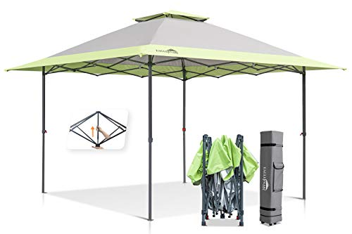 EAGLE PEAK 13' x 13' Straight Leg Pop Up Canopy Tent Instant Outdoor Canopy Easy Set-up Folding Shelter w/Auto Extending Eaves 169 Square Feet of Shade (Gray/Green)