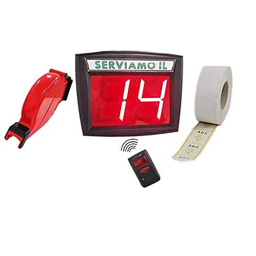 Kit Sistema Eliminacode Ferlabel VD3 Completo di Display + Radiocomando + Chiocciola + 1 rotolo ticket (2.000 scontrini)