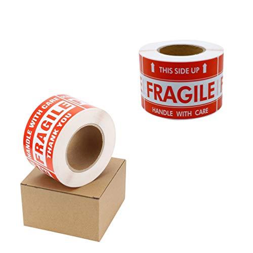 NUOBESTY pegatinas frágiles - esta flecha hacia arriba - manejar con cuidado - etiquetas de envío de advertencia 1 rollo(Estilo al azar)