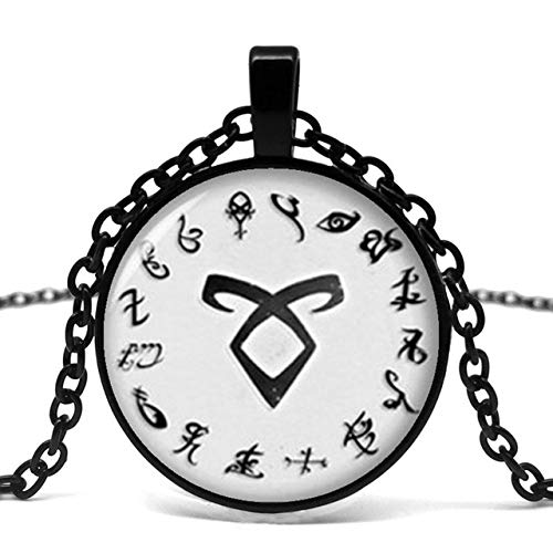 CWQAN Mode Necklaceblack Einfache Taschenuhr Form Mortal Musikinstrument City Bone Halskette Retro Angel Power Rune Shadowhunters Anhänger Halskette