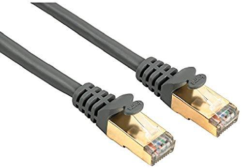 Hama Ethernet Cat 5e Netzwerkkabel STP (10m Patchkabel, 1000Mbit/s, vergoldet, geschirmt, für z. B. Apple TV 4, Smart-TV, PC, Notebook) grau