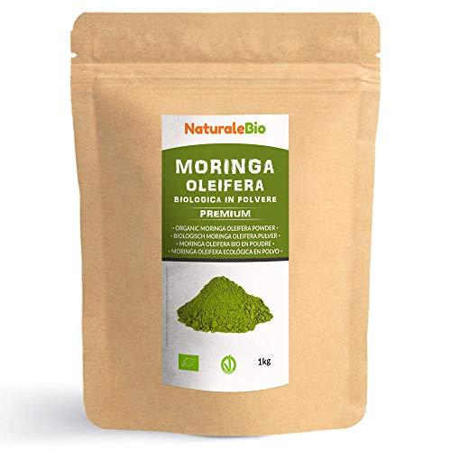Moringa Oleifera Bio Pulver [ Premium-Qualität ] 1kg. Organic Moringa Powder, Original und Rein. Blätter des Moringa Oleifera Baum. NaturaleBio