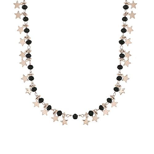 Linea Italia Gioielli - Collana per Donna con Stelle In Argento Rosa 925 e Pietre Nere - Made in Italy