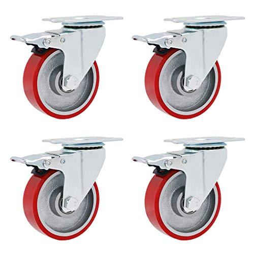 Conjunto de 4 placa giratoria Rueda de ruedas industriales, ruedas de muebles de poliuretano rojo, placas superiores de trabajo pesado 360 °, capacidad máxima de 600 kg, reemplazo para carritos, carro