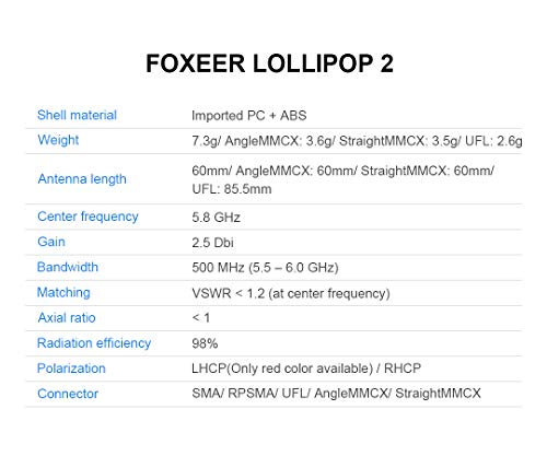 Mini Antenne für FPV Racing Drone, Foxeer Lutscher 2 RHCP SMA/RP-SMA 5.8G 2.5dBi Super Rote UFL-Schnittstelle