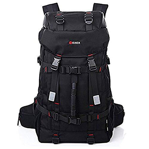 KAKA 50L Wasserdicht mit hoher Kapazität Wandern Camping Rucksack Reisen Bergsteigen Trekking Rucksack Schule Sling Bag Schwarz (Handtaschen Code Verschluss und Deckung enthalten)