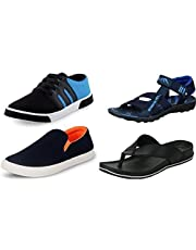 Maddy Men's Combo Pack of Shoes, Sandal and Slippers for Men's