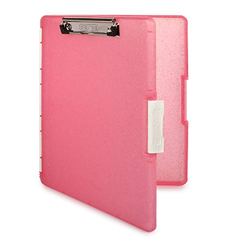 Dexas Slimcase 2 Storage Clipboard with Side Opening, Pink Glitter with White Binding (3517-217G)