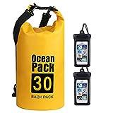 flintronic® Bolsa Impermeable, 30L Mochila Impermeable IP66, para Canoa Kayak Barco Camping Natación Rafting Velo Pesca, Amarillo (Incluye 2 PCS Bolsa Impermeable para Teléfono Celular)