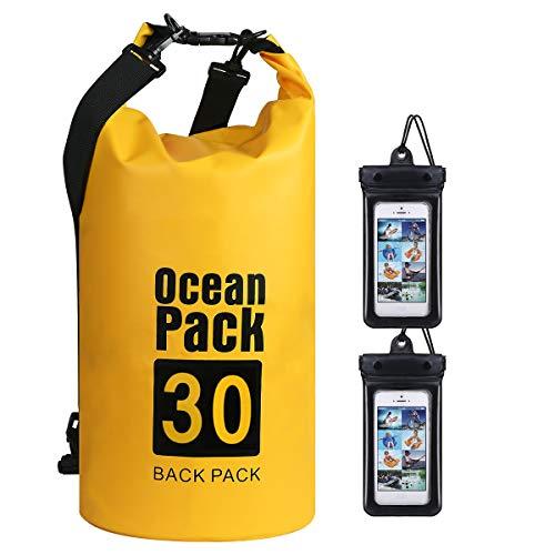flintronic Bolsa Impermeable, 30L Mochila Impermeable IP66, para Canoa Kayak Barco Camping Natación Rafting Velo Pesca, Amarillo (Incluye 2 PCS Bolsa Impermeable para Teléfono Celular)