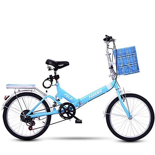 MIAOYO Ultralight Bicicleta Plegable,6 Velocidad Suspensión Trasera Plegable Bicicleta Commuter,Velocidad Variable Citybike para Adultos Estudiante(Ⅴ-Freno),Azul,20'