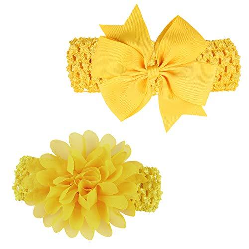 LD DRESS Baby Girl's Lovely Elastic Hairband Headwrap(21) (Yellow)