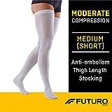 Futuro Anti-Embolism Thigh Length Stockings, Moderate Compression, Closed Toe, Medium Short, White