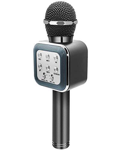 ShinePick Micrófono de Karaoke, inalámbrico, con Bluetooth, Portátil, para Niños y Adultos, Negro