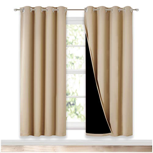 NICETOWN Living Room Completely Shaded Draperies, Privacy Protection & Noise Reducing Ring Top Drapes, Black Lined Insulated Window Treatment Curtain Panels(Biscotti Beige, 2 Pieces, W52 x L72)