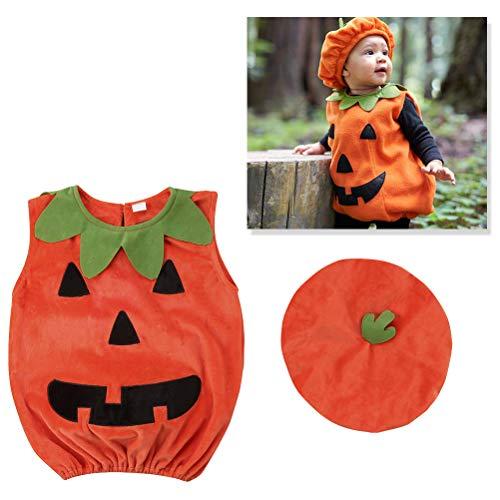 Amosfun Costume di Zucca di Halloween Vestito Vestito Vestito di Vestiti con Cappello per Bambino Photo Booth Prop Costume di Halloween 1-2 Anni