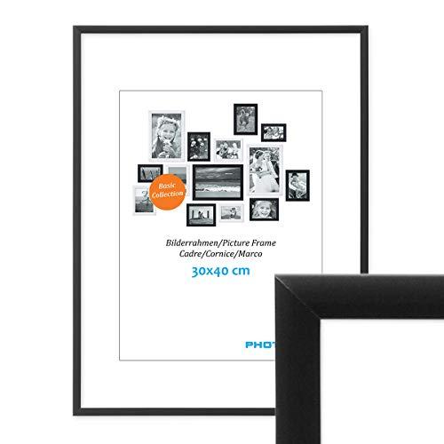 PHOTOLINI Alu-Bilderrahmen 30x40 cm Modern Schwarz Aluminium-Posterrahmen mit Acrylglas