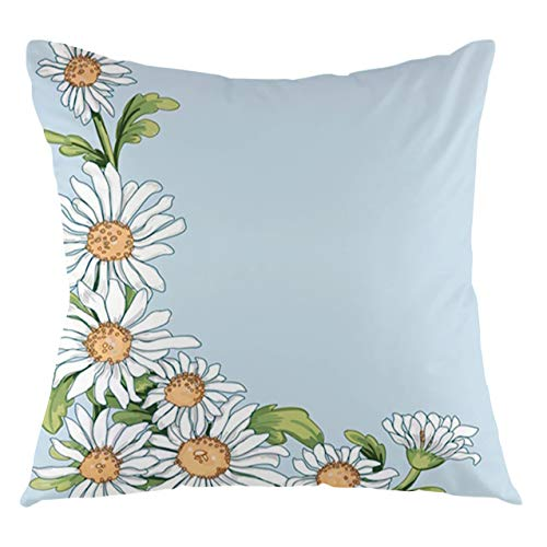 FULIYA Daisy Throw Pillow Cushion Cover Corner of Daisies Hand Drawn Painting Brushstrokes Decorative Square Accent Pillow Case, 16' X 16',Sand Brown Grey