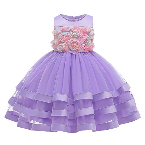 FYMNSI Robe de fête pour bébé - Robe de mariée - Robe de demoiselle d'honneur - Tutu - Princesse - Robe de soirée - Robe d'anniversaire, de baptême, de fête, S # violet., 3-4 ans