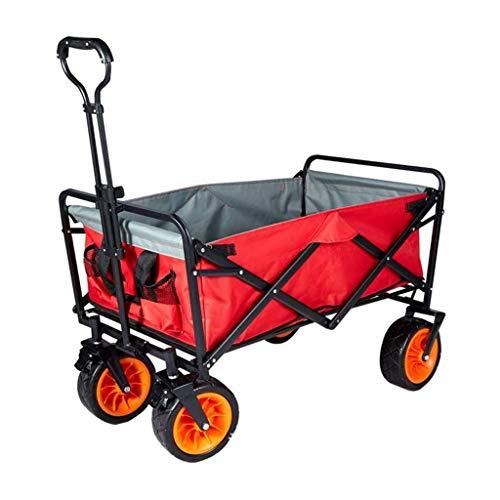 Carrito Carretilla de mano portátil plegable plegable jardín utilitario al aire libre de servicio de mano de servicio pesado con ruedas universales de goma ensanchadas muy adecuadas para paseos en la