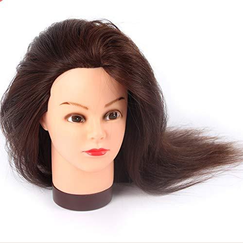 80% de vrais cheveux humains modèle TêTes D'Exercice salon de coiffure apprentissage peut souffler cheveux permanent colorant cheveux tétine dummy tête édition cheveux pratique modèle de tête,Brown