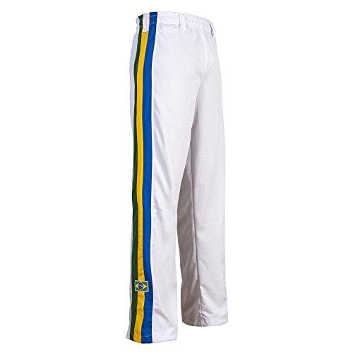 JLSPORT Authentische Brasilianische Capoeira Kampfsport Unisex Hosen (Weiß Mit Brasilien National Farbigen Vertikalen Streifen Bein) - L