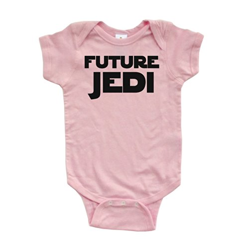 Apericots Adorable Future Jedi Soft and Comfy Cute Baby Short Sleeve Cotton Infant Bodysuit (6 Months, Pink)
