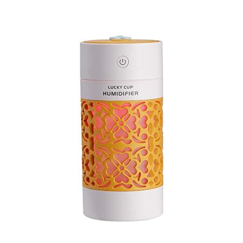 Mini 250 ml USB Humidificador Frio Niebla Humidificadores con LED Luz de Noche Auto Apagar 2 Niebla Modos para Coche Casa Oficina Cuarto,Amarillo
