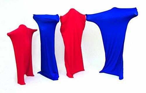 FLIXI Tanzsäcke – mit Bildungsheft – 4er Set Tanzanzüge aus reißfestem Material – besonders Hautverträglich - Rot - Blau