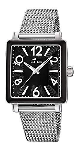 Lotus Reloj Mujer Acero Esfera Negra, Cuadrada - Ref 15741/B