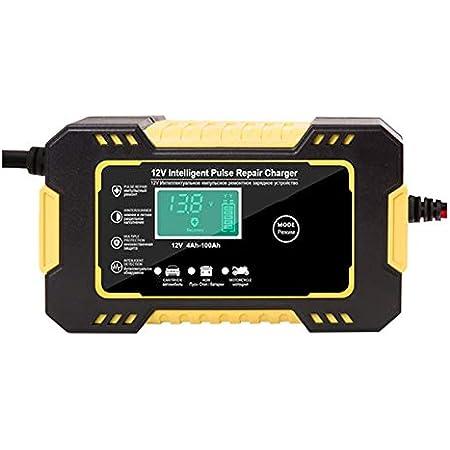 Jaimenalin Chargeur de Batterie de Voiture 12 / 24V 6A Chargeur de Batterie LCD de RéParation D'Impulsion pour Voiture Moto Batterie au Plomb Prise UE