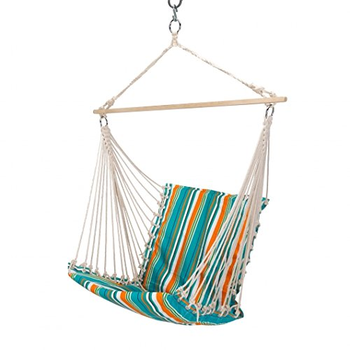 Essentials by DFO Large Citrus Stripe Hammock Chair with Quick Dry Fabric, Constructed for Durability & Comfort, Spacious Single Swing for Sunroom, Patio, Porch, Balconies, Backyard & More