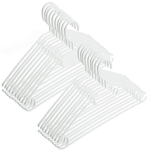 100 Stück - Kleiderbügel Centi Kunststoff Weiß drehbarer Haken + Schuhlöffel- Made in EU - Umweltfreundlich da 100% Recyclingmaterial