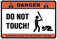 CAOPEIHE バンパーステッカー14.7cm x 10.2cm危険PVC面白いステッカーに触れないでください